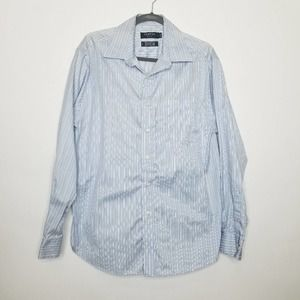 George 80s 2 Ply Stripe Button Down Shirt Large